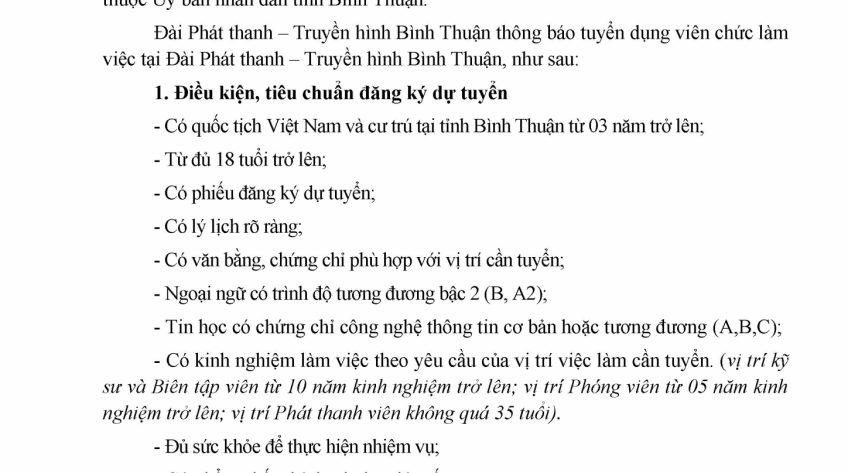 Thông báo tuyển dụng viên chức làm việc tại Đài Phát Thanh - Truyền Hình Bình Thuận