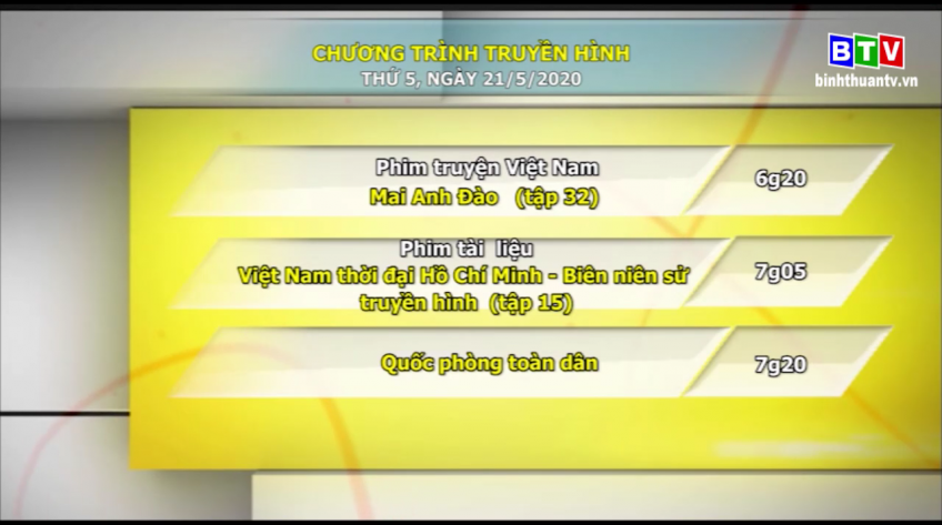 Chương trình truyền hình 21-5-2020