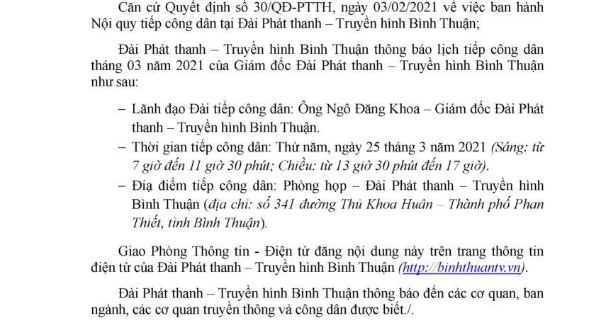 Lịch tiếp công dân tháng 3 - 2021 của Giám đốc Đài Phát thanh - Truyền hình Bình Thuận